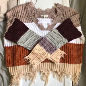 Distressed Chunky Knit Striped Sweater